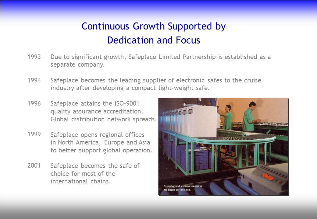 Continuous Growth Supported by Dedication and Focus Due to significant growth, Safeplace Limited Partnership is established as a separate company. Saf