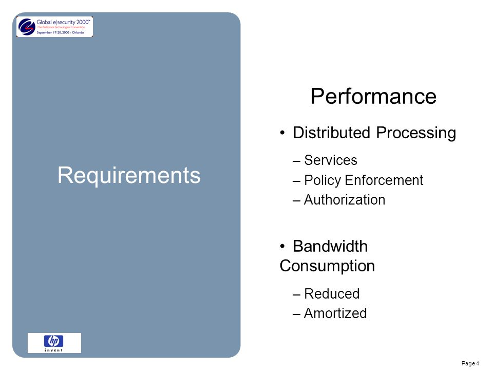 Page 4 Requirements Performance Distributed Processing –Services –Policy Enforcement –Authorization Bandwidth Consumption –Reduced –Amortized