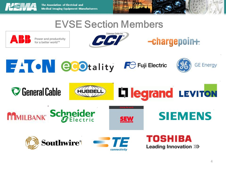 The Association of Electrical and Medical Imaging Equipment Manufacturers NEMA Standards Activities (cont'd) The new Guide for EVSE Embedded Metering and Communication encompasses the North American types of meters emerging within EVSEs The stakeholders expected to benefit from the new Guide are EVSE manufacturers, utilities, automakers, smart meter manufacturers, EV drivers, EVSE owners, and regulators The guide will describe methods of test and determining accuracy of commercial EVSEs with embedded meters by measuring the performance at the charge connector The working group has identified gaps in existing standards and is working diligently to close the gaps through development of new processes and procedures