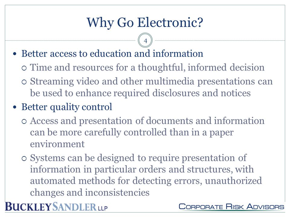 Why Go Electronic.