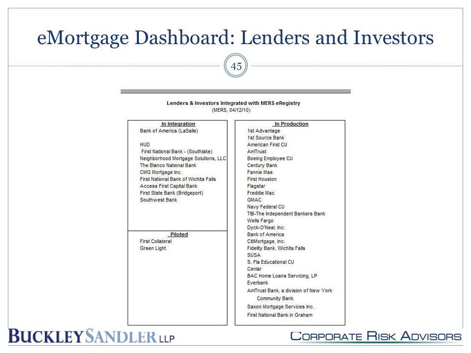 eMortgage Dashboard: Lenders and Investors 45