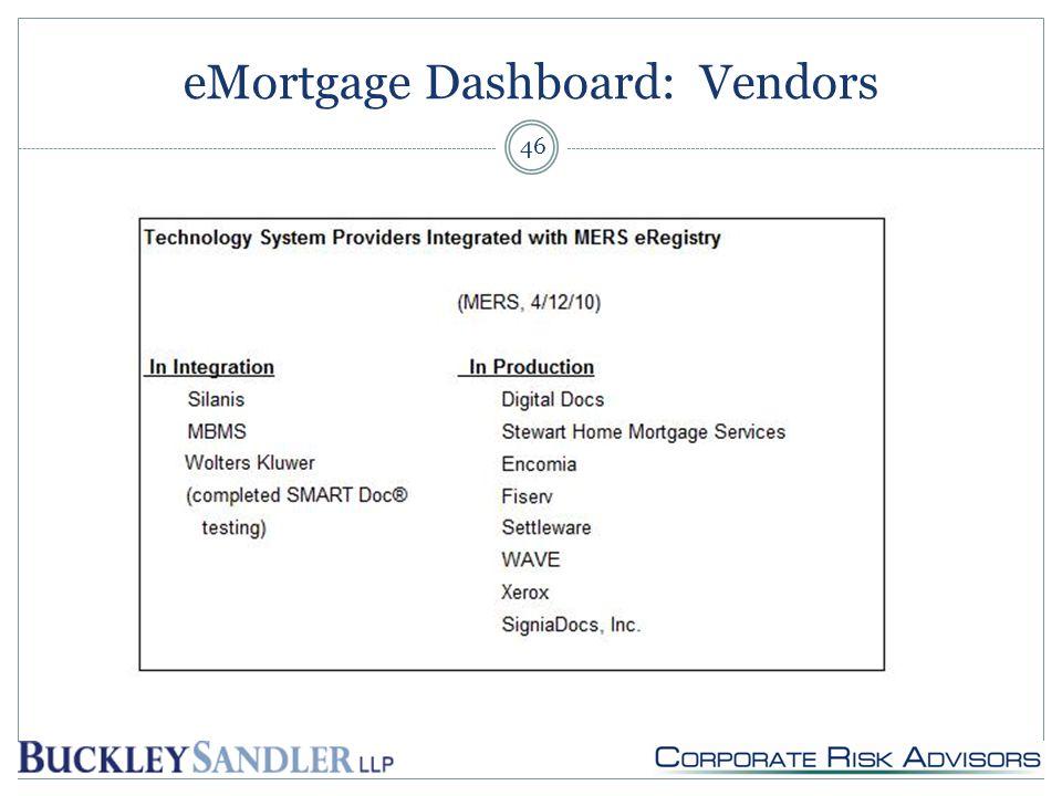 eMortgage Dashboard: Vendors 46