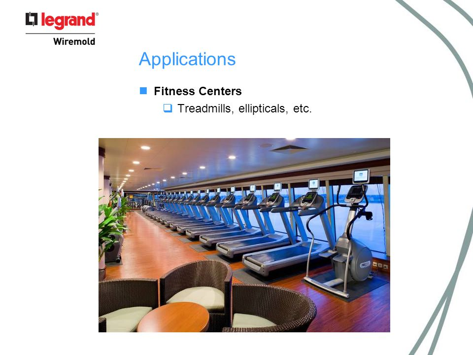 Applications Fitness Centers  Treadmills, ellipticals, etc.