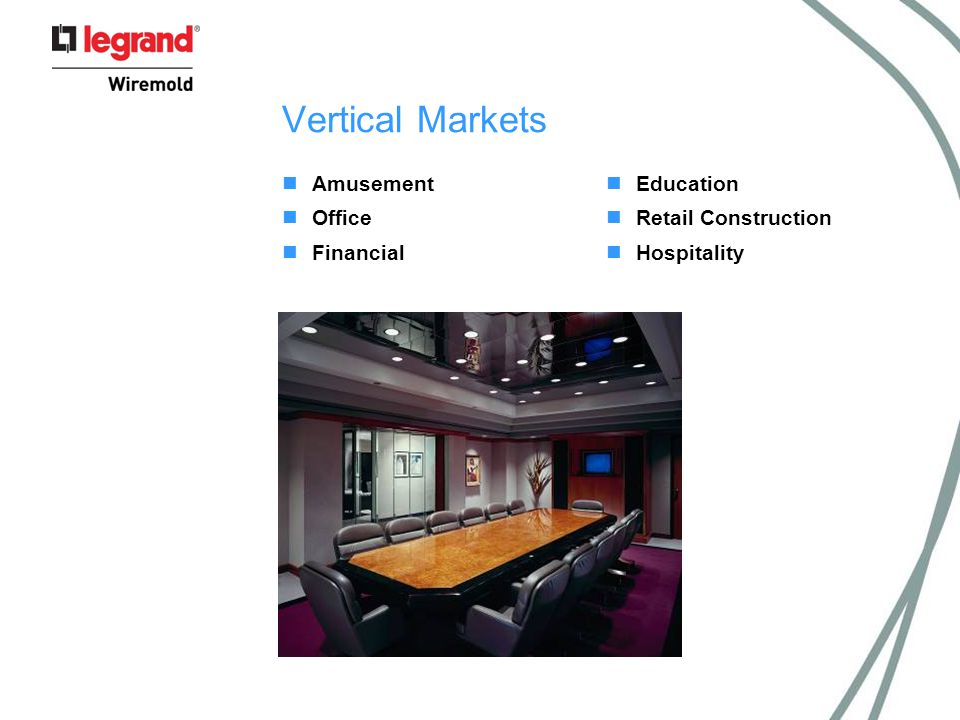 Vertical Markets Amusement Office Financial Education Retail Construction Hospitality