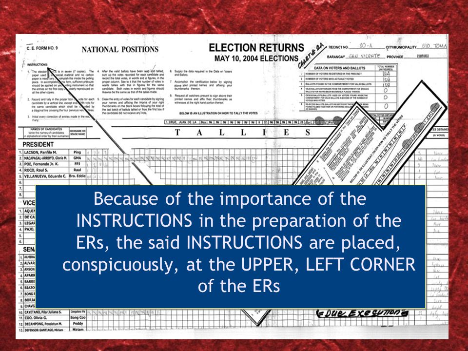 Slide 9 Because of the importance of the INSTRUCTIONS in the preparation of the ERs, the said INSTRUCTIONS are placed, conspicuously, at the UPPER, LEFT CORNER of the ERs