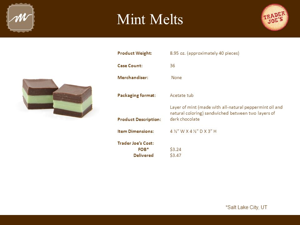 Mint Melts Product Weight:8.95 oz.