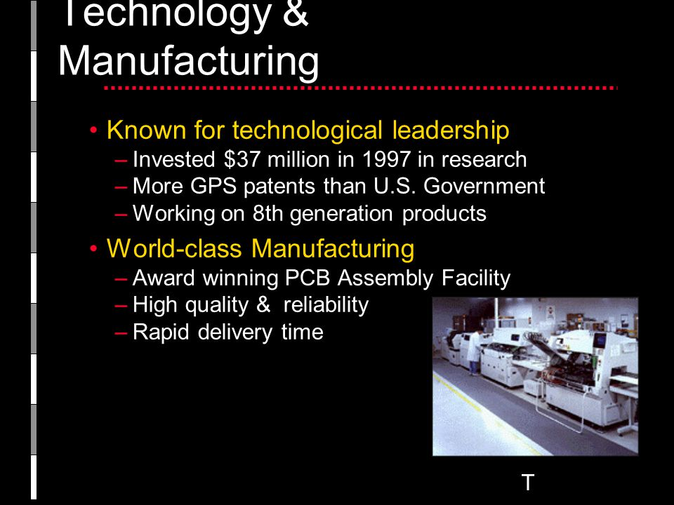 T Technology & Manufacturing Known for technological leadership –Invested $37 million in 1997 in research –More GPS patents than U.S.
