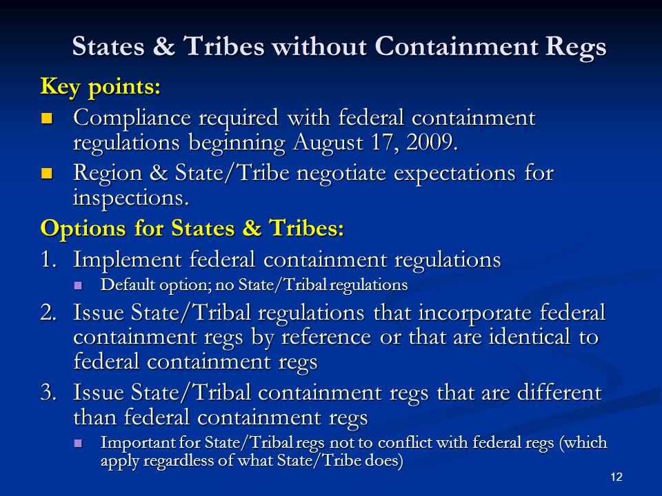 12 States & Tribes without Containment Regs Key points: Compliance required with federal containment regulations beginning August 17, 2009.