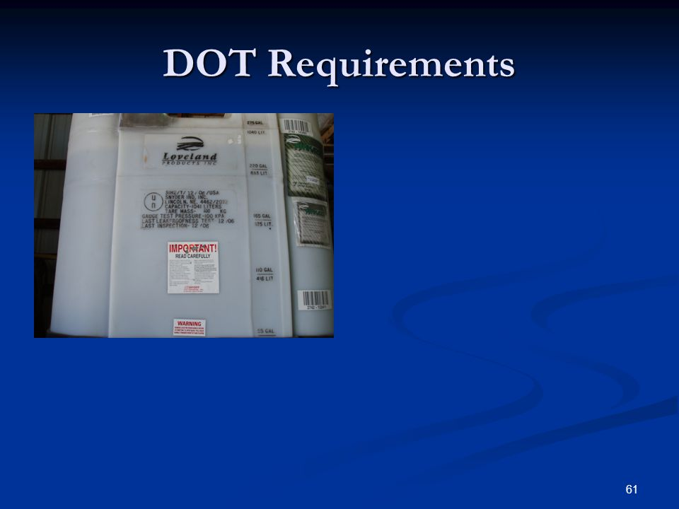 61 DOT Requirements