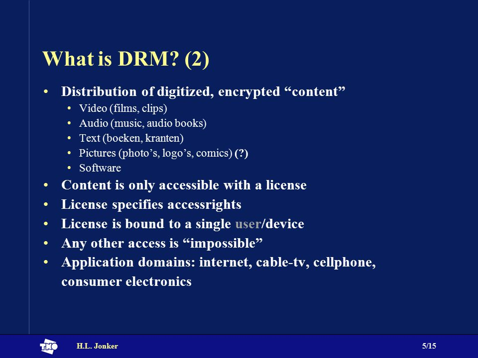H.L. Jonker5/15 What is DRM.