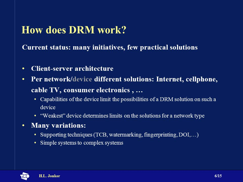 H.L. Jonker6/15 How does DRM work.