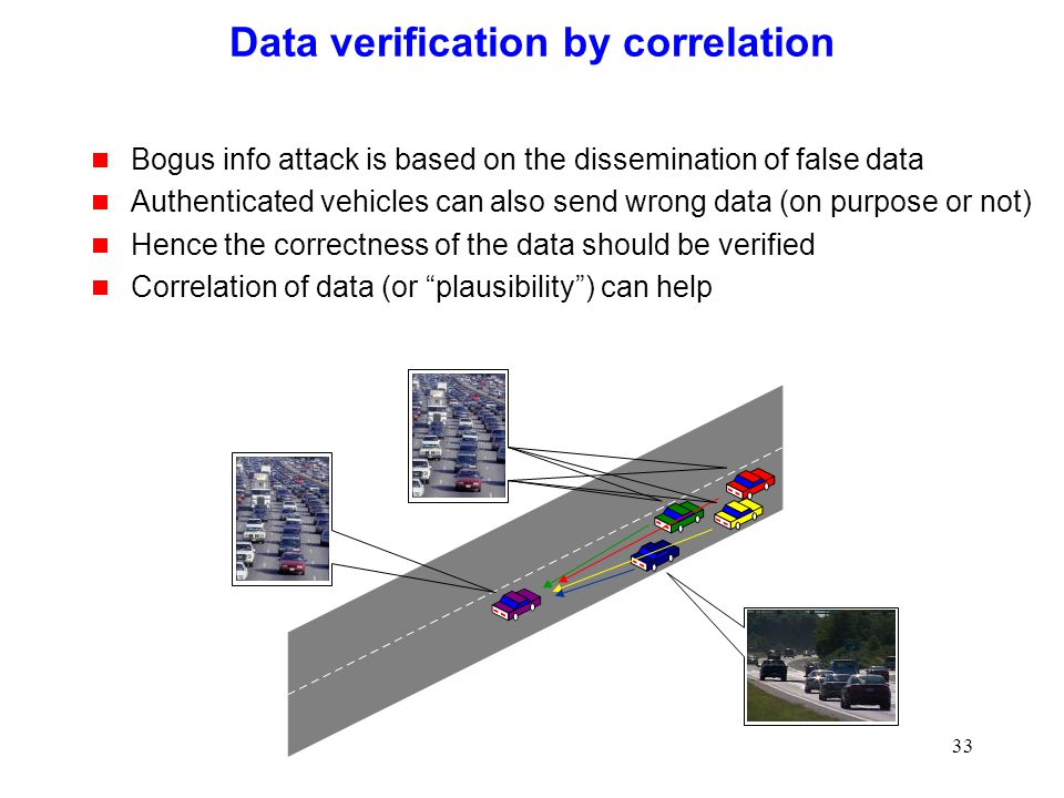 33 Data verification by correlation  Bogus info attack is based on the dissemination of false data  Authenticated vehicles can also send wrong data (on purpose or not)  Hence the correctness of the data should be verified  Correlation of data (or plausibility ) can help