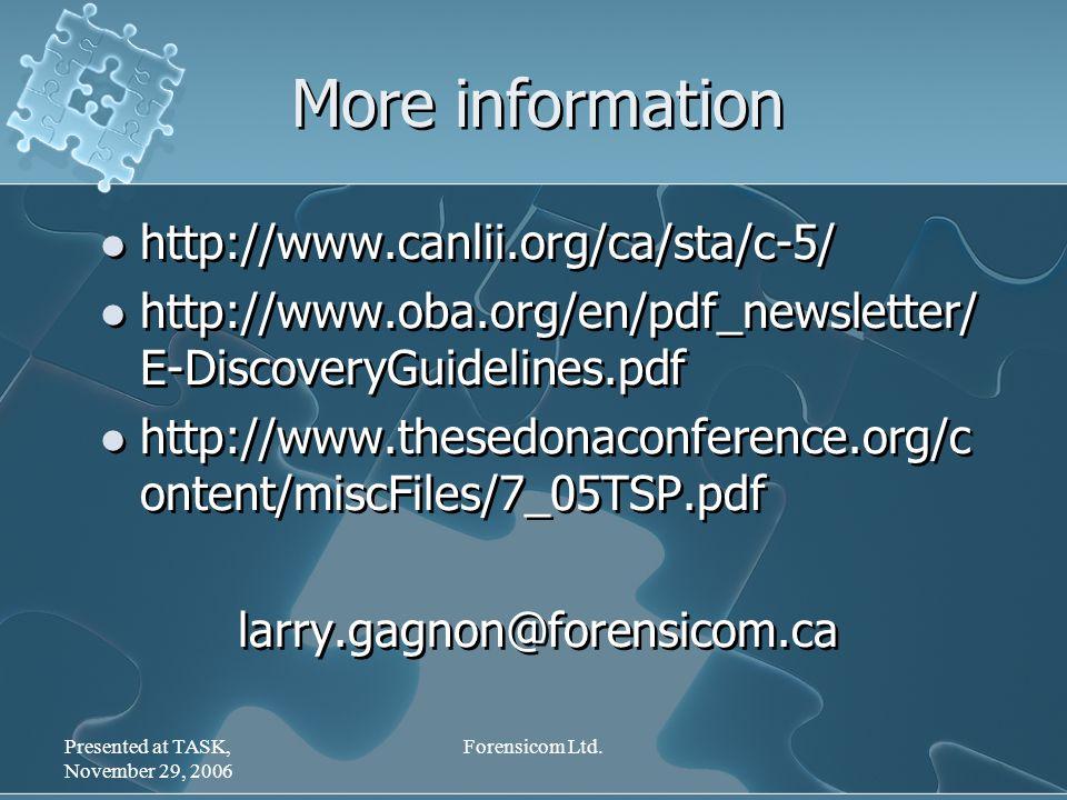 Presented at TASK, November 29, 2006 Forensicom Ltd.