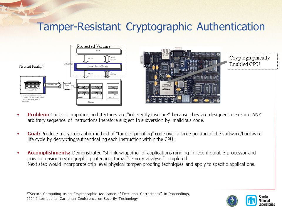 Tamper-Resistant Cryptographic Authentication Problem: Current computing architectures are inherently insecure because they are designed to execute ANY arbitrary sequence of instructions therefore subject to subversion by malicious code.