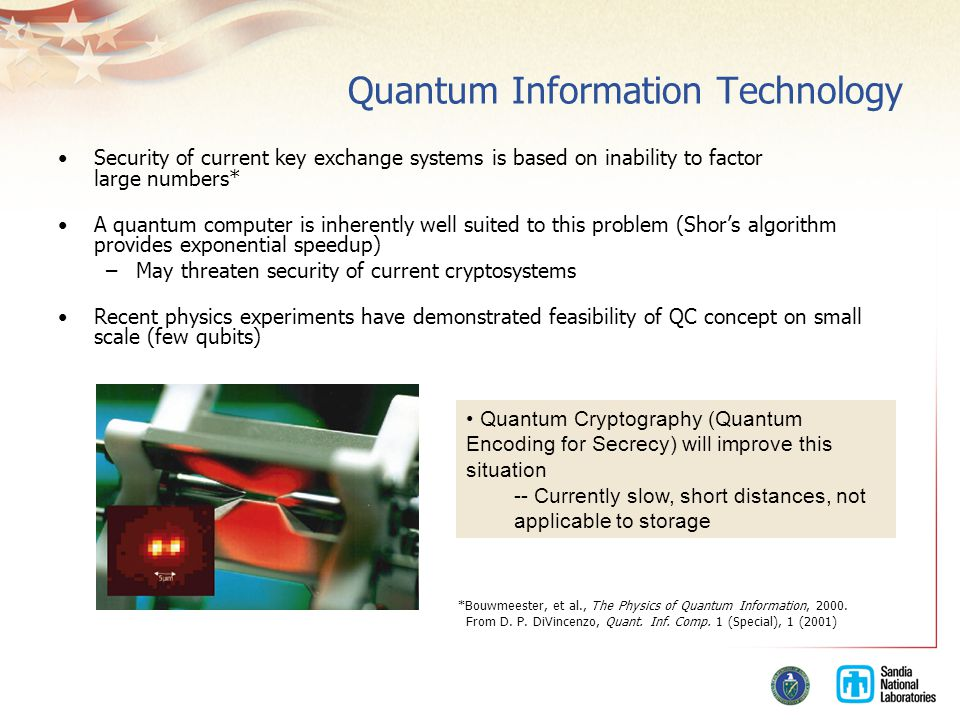 Quantum Information Technology Security of current key exchange systems is based on inability to factor large numbers* A quantum computer is inherently well suited to this problem (Shor's algorithm provides exponential speedup) –May threaten security of current cryptosystems Recent physics experiments have demonstrated feasibility of QC concept on small scale (few qubits) From D.