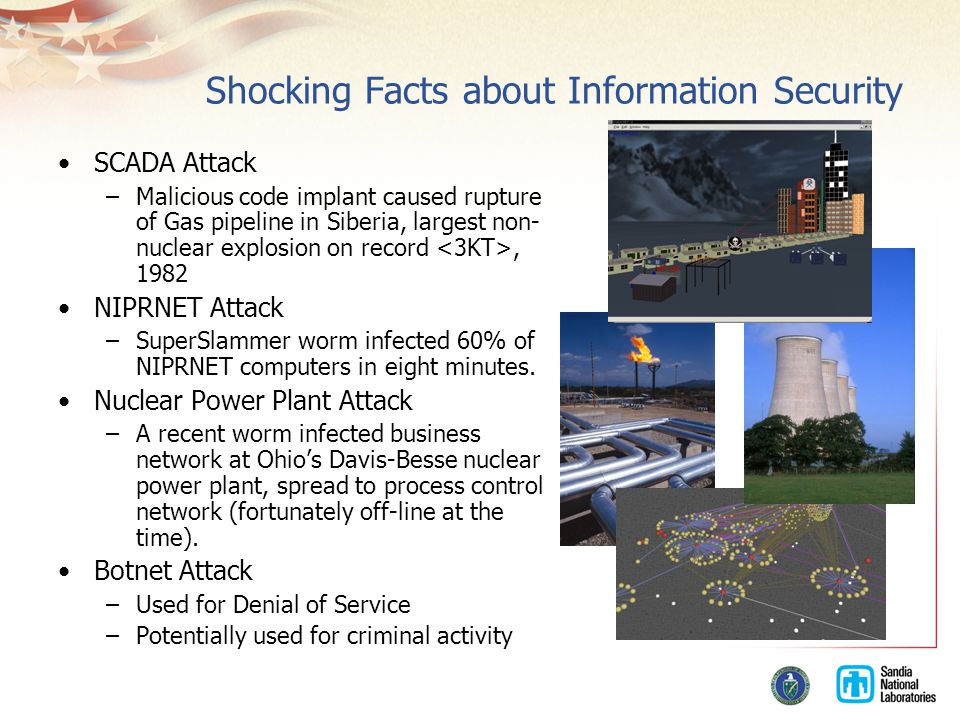 Shocking Facts about Information Security SCADA Attack –Malicious code implant caused rupture of Gas pipeline in Siberia, largest non- nuclear explosion on record, 1982 NIPRNET Attack –SuperSlammer worm infected 60% of NIPRNET computers in eight minutes.