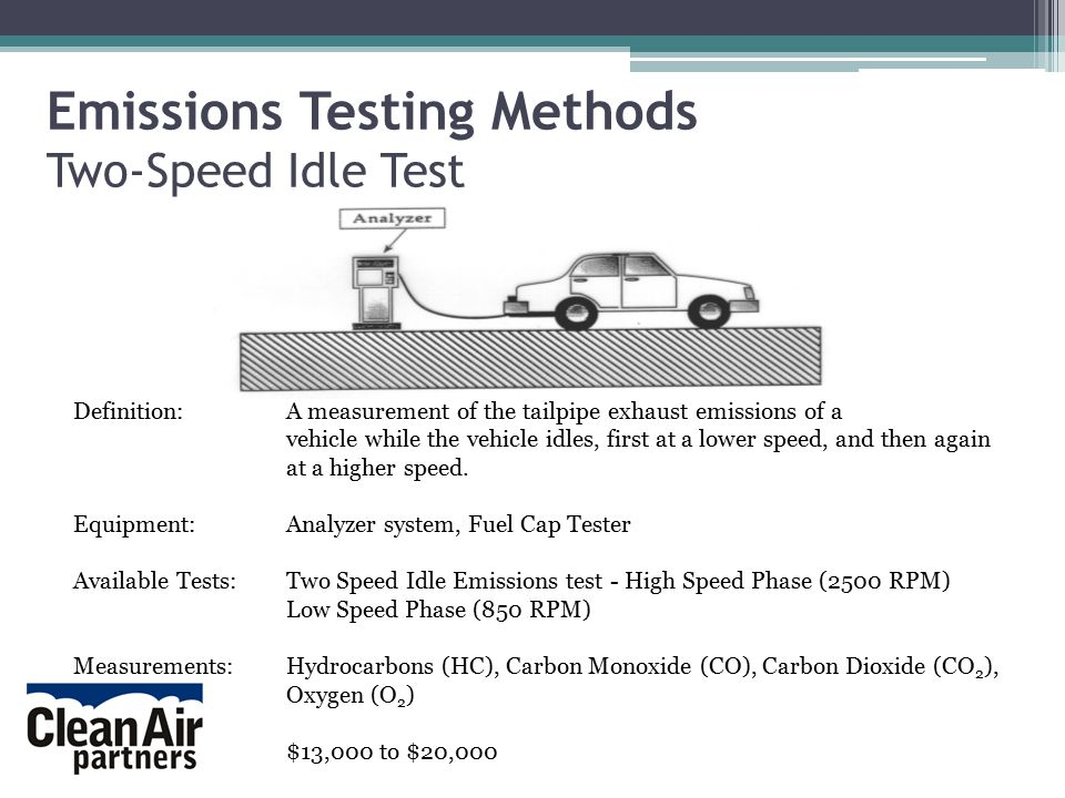 Emissions Testing Methods Two-Speed Idle Test Definition:A measurement of the tailpipe exhaust emissions of a vehicle while the vehicle idles, first at a lower speed, and then again at a higher speed.