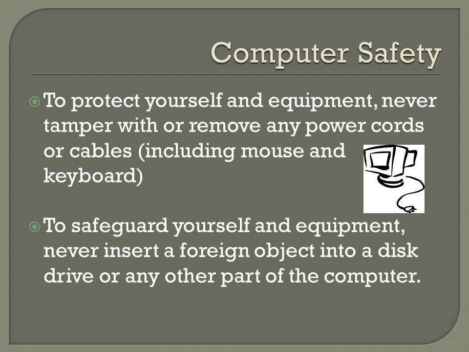  To protect yourself and equipment, never tamper with or remove any power cords or cables (including mouse and keyboard)  To safeguard yourself and equipment, never insert a foreign object into a disk drive or any other part of the computer.