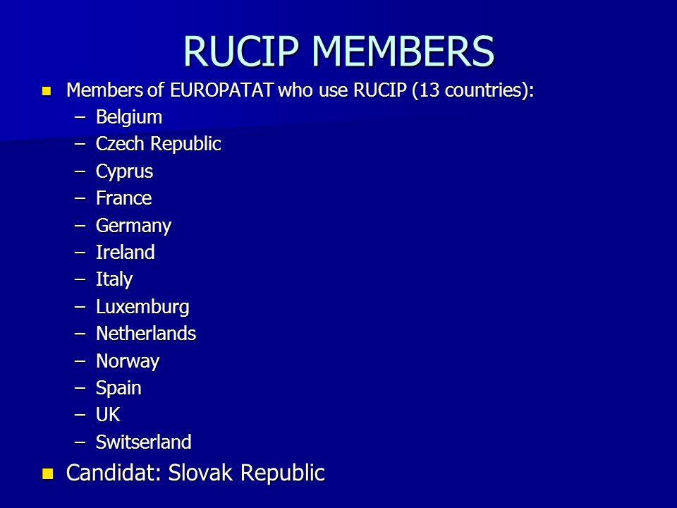 RUCIP MEMBERS Members of EUROPATAT who use RUCIP (13 countries): Members of EUROPATAT who use RUCIP (13 countries): –Belgium –Czech Republic –Cyprus –France –Germany –Ireland –Italy –Luxemburg –Netherlands –Norway –Spain –UK –Switserland Candidat: Slovak Republic Candidat: Slovak Republic