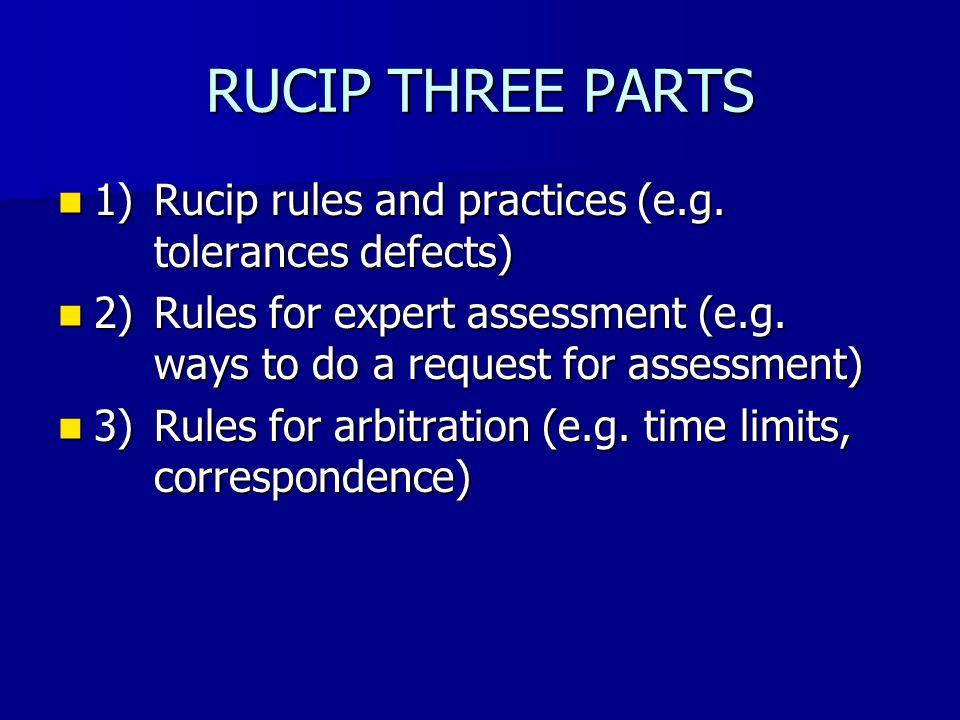 1) RUCIP RULES General arrangements (e.g.area of application) General arrangements (e.g.