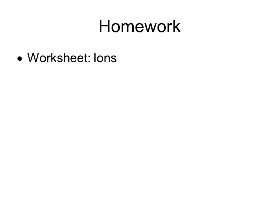 Homework  Worksheet: Ions