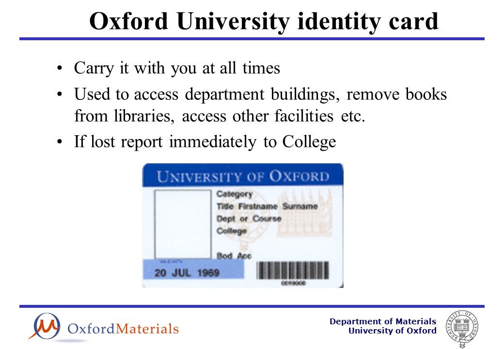 Department of Materials University of Oxford IT Training OUCS run an extensive range of training courses which are FREE to all members of department –Byte-sized 1hr lunchtime sessions –1/2 day and full day courses –ECDL qualification –http://www.oucs.ox.ac.ukhttp://www.oucs.ox.ac.uk
