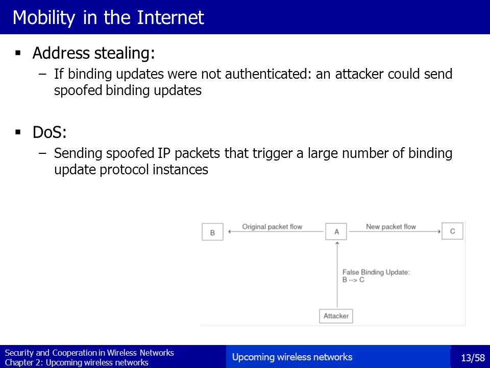 Security and Cooperation in Wireless Networks Chapter 2: Upcoming wireless networks 13/58 Mobility in the Internet  Address stealing: –If binding updates were not authenticated: an attacker could send spoofed binding updates  DoS: –Sending spoofed IP packets that trigger a large number of binding update protocol instances Upcoming wireless networks