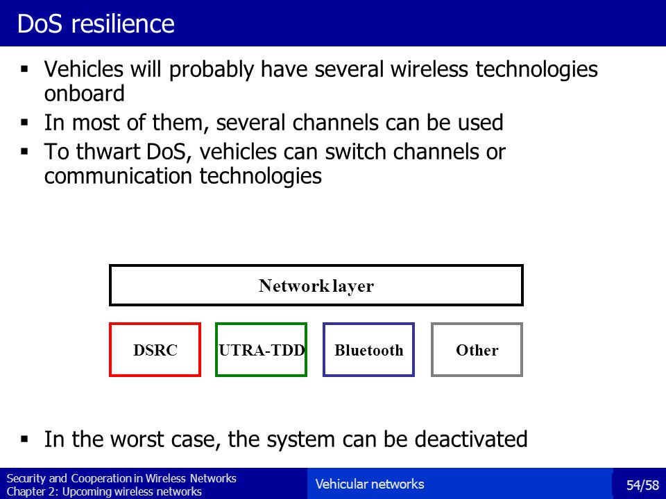 Security and Cooperation in Wireless Networks Chapter 2: Upcoming wireless networks 54/58 DoS resilience  Vehicles will probably have several wireless technologies onboard  In most of them, several channels can be used  To thwart DoS, vehicles can switch channels or communication technologies  In the worst case, the system can be deactivated Network layer DSRC UTRA-TDD Bluetooth Other Vehicular networks