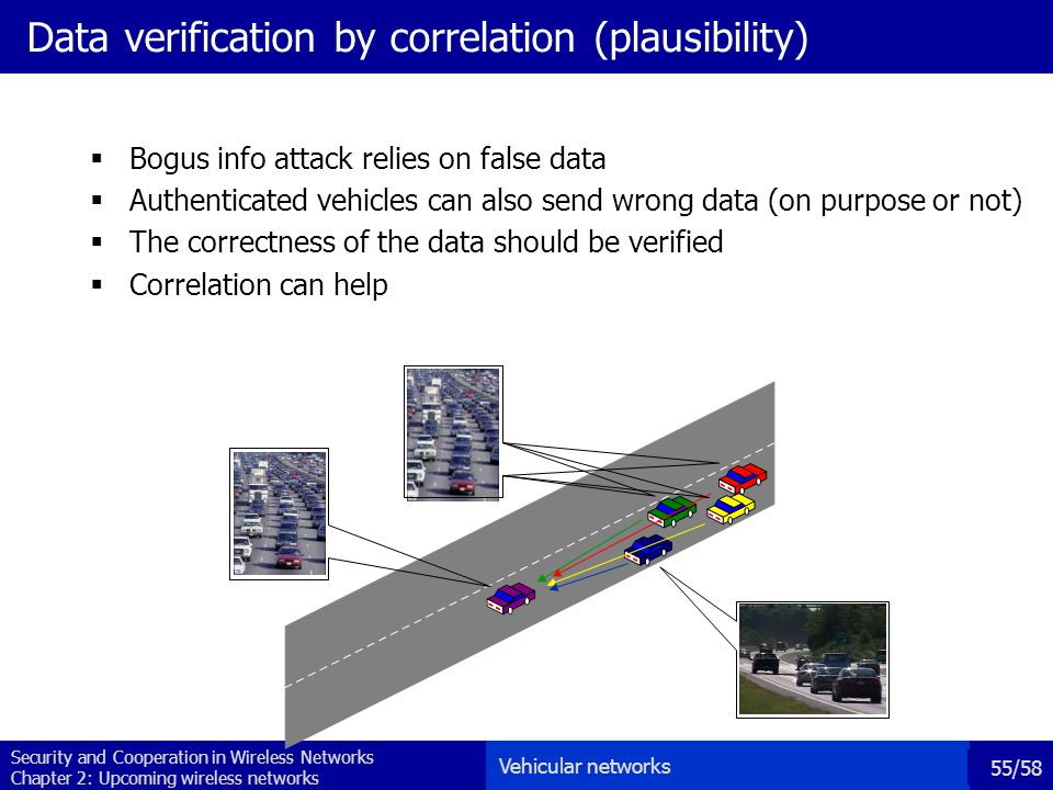 Security and Cooperation in Wireless Networks Chapter 2: Upcoming wireless networks 55/58 Data verification by correlation (plausibility)  Bogus info attack relies on false data  Authenticated vehicles can also send wrong data (on purpose or not)  The correctness of the data should be verified  Correlation can help Vehicular networks