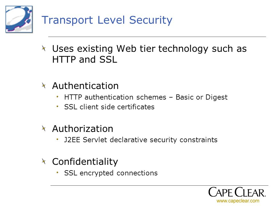 Transport Level Security Uses existing Web tier technology such as HTTP and SSL Authentication HTTP authentication schemes – Basic or Digest SSL clien