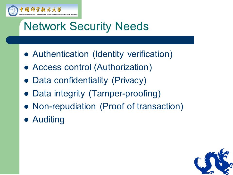 Network Security Needs Authentication (Identity verification) Access control (Authorization) Data confidentiality (Privacy) Data integrity (Tamper-pro