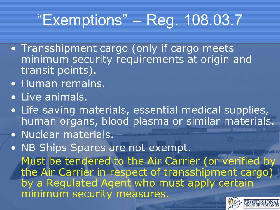Exemptions – Reg.