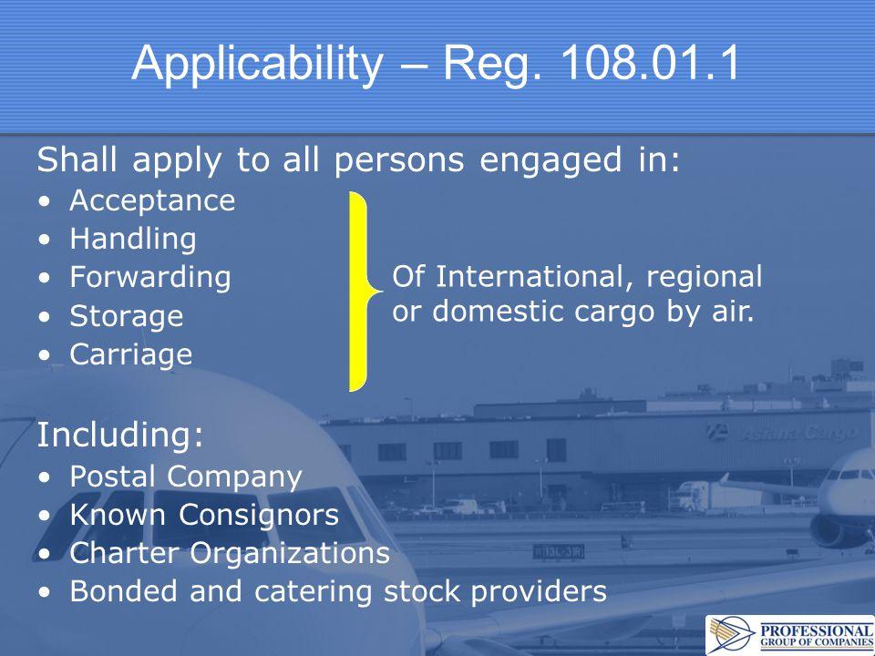 Applicability – Reg.