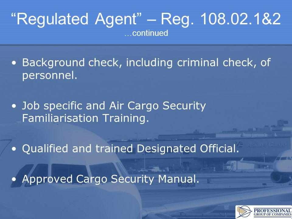 Regulated Agent – Reg.