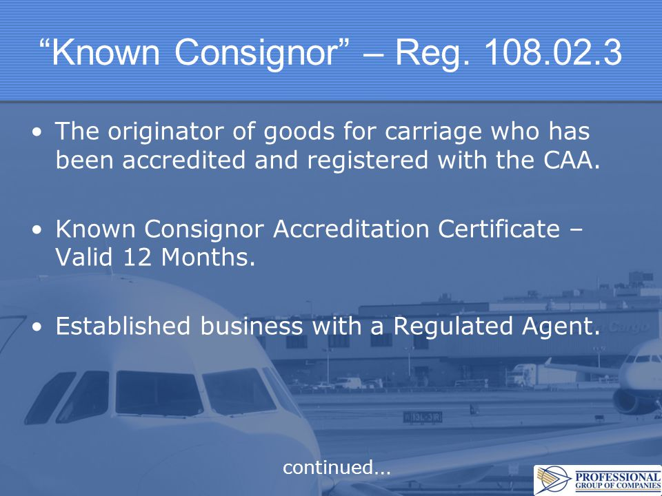 Known Consignor – Reg.