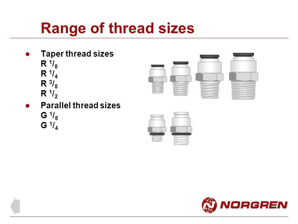 Range of thread sizes Taper thread sizes R 1 / 8 R 1 / 4 R 3 / 8 R 1 / 2 Parallel thread sizes G 1 / 8 G 1 / 4