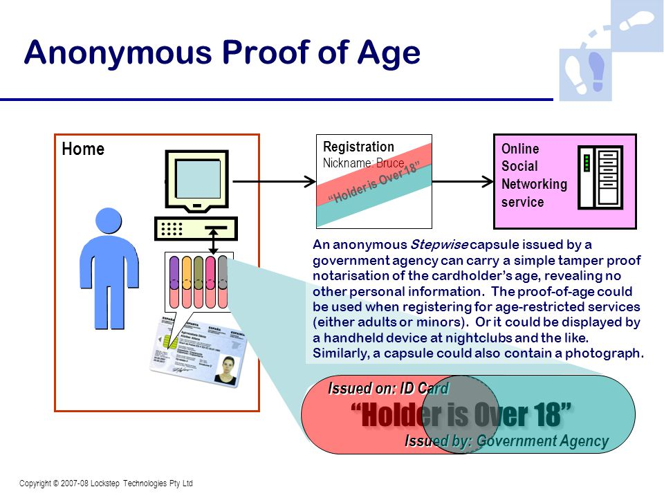 Copyright © 2007-08 Lockstep Technologies Pty Ltd Home Registration Nickname: Bruce Online Social Networking service Holder is Over 18 Anonymous Proof of Age An anonymous Stepwise capsule issued by a government agency can carry a simple tamper proof notarisation of the cardholder's age, revealing no other personal information.