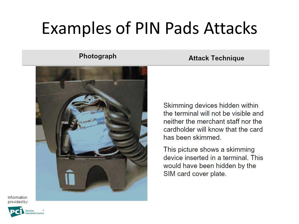Examples of PIN Pads Attacks Information provided by: