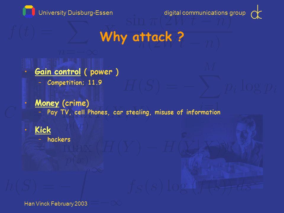 University Duisburg-Essendigital communications group Han Vinck February 2003 Why attack .
