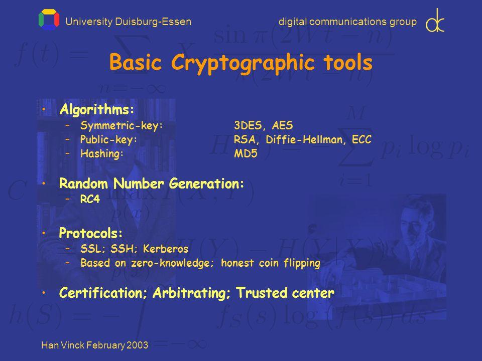 University Duisburg-Essendigital communications group Han Vinck February 2003 Basic Cryptographic tools Algorithms: –Symmetric-key: 3DES, AES –Public-key: RSA, Diffie-Hellman, ECC –Hashing:MD5 Random Number Generation: –RC4 Protocols: –SSL; SSH; Kerberos –Based on zero-knowledge; honest coin flipping Certification; Arbitrating; Trusted center