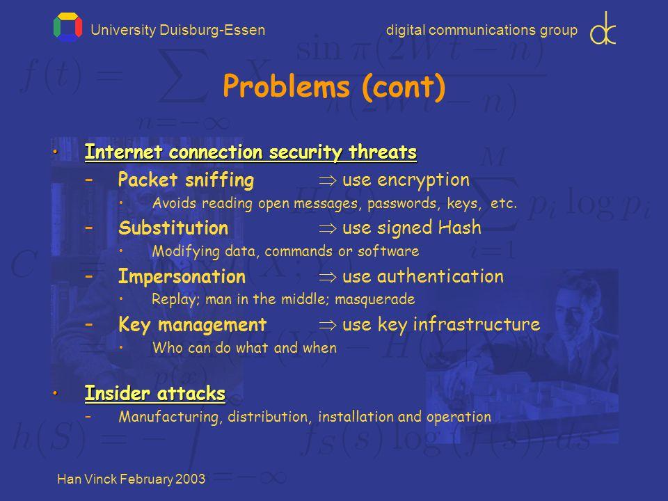 University Duisburg-Essendigital communications group Han Vinck February 2003 Problems (cont) Internet connection security threatsInternet connection security threats –Packet sniffing  use encryption Avoids reading open messages, passwords, keys, etc.