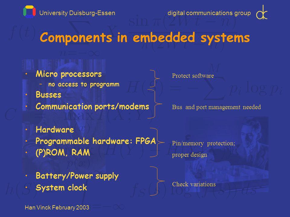 University Duisburg-Essendigital communications group Han Vinck February 2003 Symmetric key systems Stream cipher: simple and fast M MRMR R R MRMR M PRNG problem key stored at two locations!