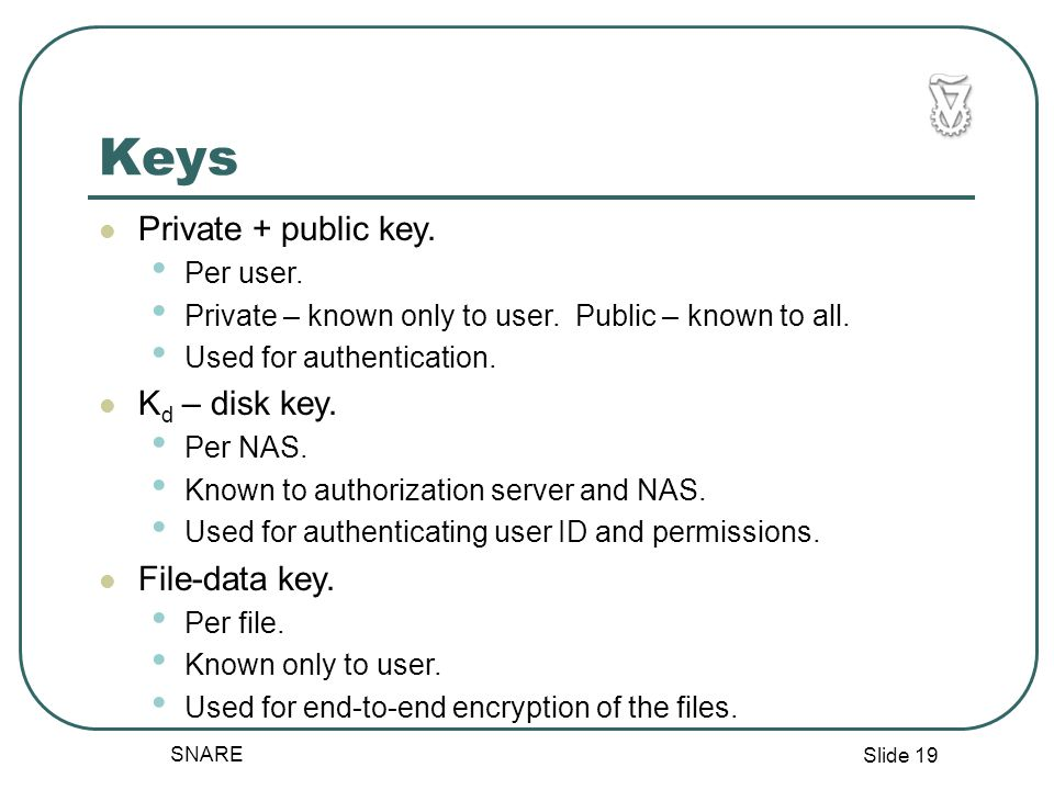 Slide 19 SNARE Keys Private + public key. Per user.