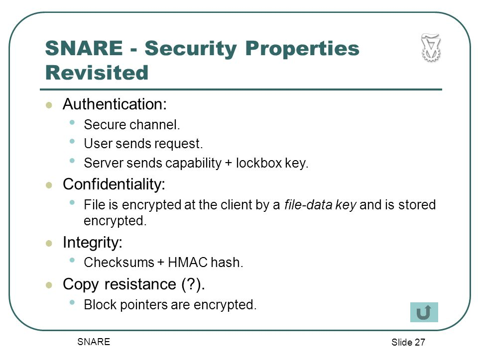 Slide 27 SNARE SNARE - Security Properties Revisited Authentication: Secure channel.