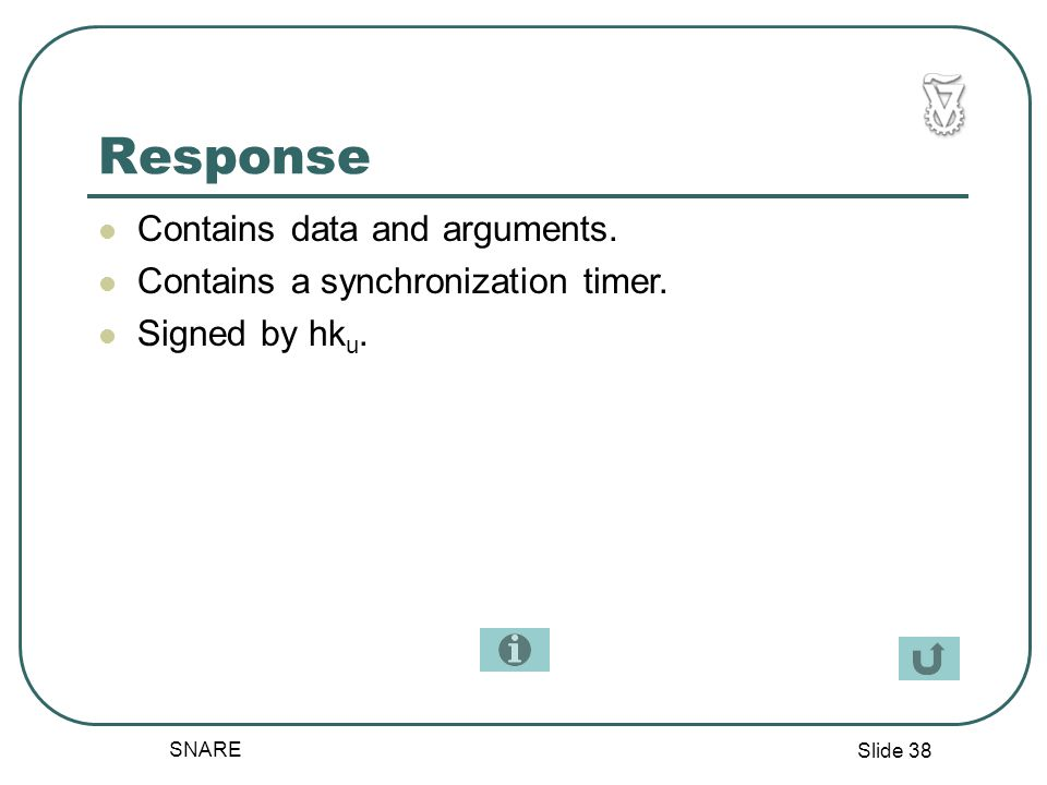 Slide 38 SNARE Response Contains data and arguments.