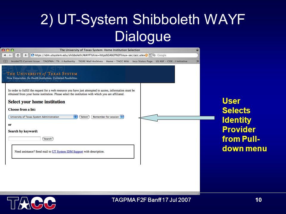 TAGPMA F2F Banff 17 Jul 200710 2) UT-System Shibboleth WAYF Dialogue User Selects Identity Provider from Pull- down menu
