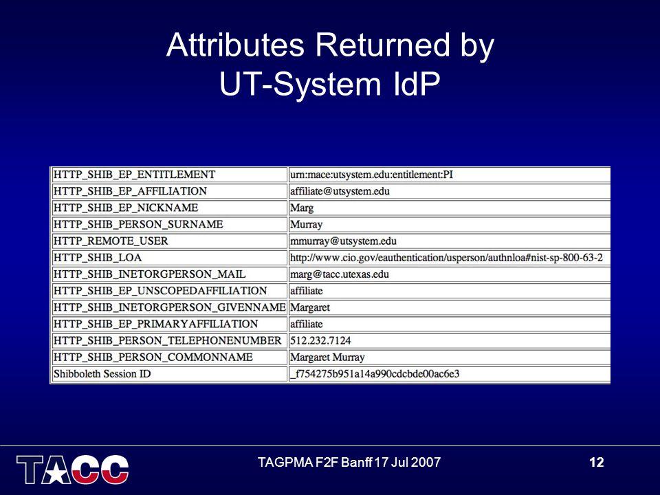 TAGPMA F2F Banff 17 Jul 200712 Attributes Returned by UT-System IdP
