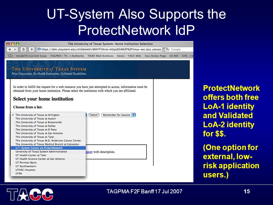 TAGPMA F2F Banff 17 Jul 200715 UT-System Also Supports the ProtectNetwork IdP ProtectNetwork offers both free LoA-1 identity and Validated LoA-2 identity for $$.