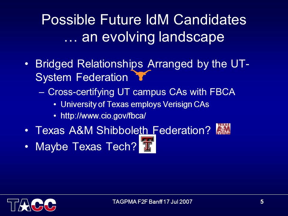 TAGPMA F2F Banff 17 Jul 20075 Possible Future IdM Candidates … an evolving landscape Bridged Relationships Arranged by the UT- System Federation –Cross-certifying UT campus CAs with FBCA University of Texas employs Verisign CAs http://www.cio.gov/fbca/ Texas A&M Shibboleth Federation.