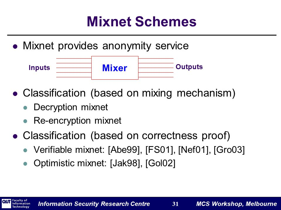Information Security Research Centre 31 MCS Workshop, Melbourne Mixnet Schemes Mixnet provides anonymity service Classification (based on mixing mechanism) Decryption mixnet Re-encryption mixnet Classification (based on correctness proof) Verifiable mixnet: [Abe99], [FS01], [Nef01], [Gro03] Optimistic mixnet: [Jak98], [Gol02] Mixer Inputs Outputs